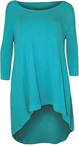New Womens Plus Size Uneven Dip Hem Long Tunic Tops, Turquoise ,EU 46