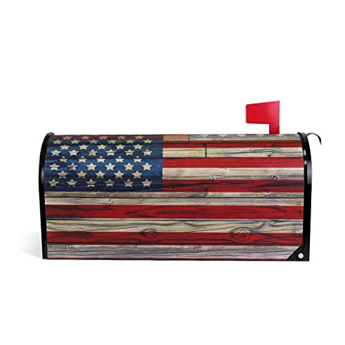 (Naanle Patriotic American Flag Magnetic Mailbox Cover, 4th of July Star and Stripe Mailbox Wrap Home Decorative for Standard Size 20.8
