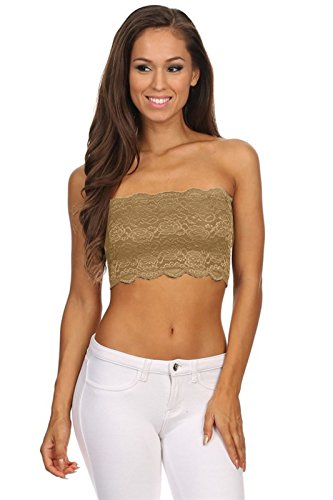 Tube Top Flower - TL Women's Full Floral Lace Strapless Seamless Stretchy Bandeau Tube Bra Top KAAKI Medium