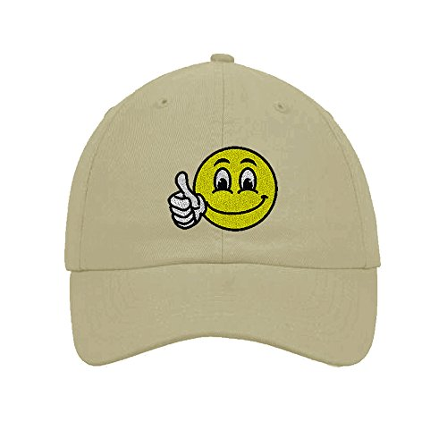 Cap Happy Face (Speedy Pros Cotton 6 Panel Low Profile Hat Emoji Smiley Happy Face Embroidery Stone)