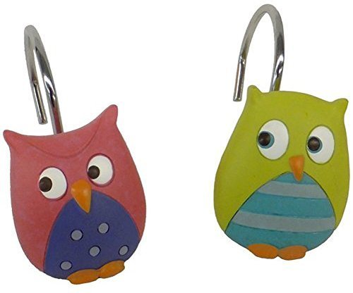 Mainstays Owl Shower Curtain Hooks Whooty Hoot Decorative Bath Collection 12-piece
