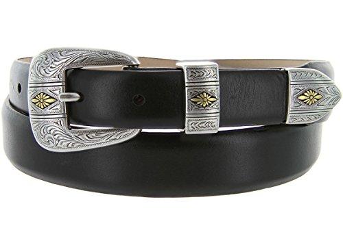 Mesa Gold - Men's Italian Calfskin Designer Dress Golf Belt with Western Silver Plated Buckle Set (44 Smooth Black)