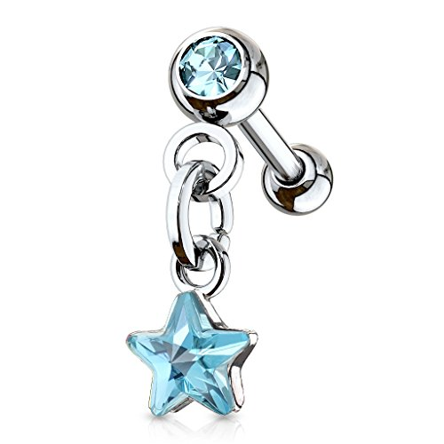 MoBody 16G Dangle Crystal Star Tragus Earring Stud Surgical Steel Cartilage Body Piercing Barbell - Helix Dangle