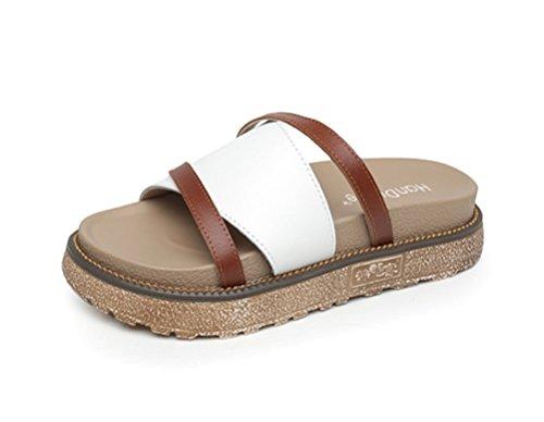 Donna Ragazza Toe Piatto Open Spiaggia Nvxie White Sandali Estate Casuale Sandalo Comfort Scarpe Tdwx8qZ
