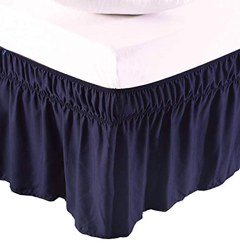 Blue Full 12 Inch Drop - Cottingos Wrap Around Bed Skirt, Easy Fit Elastic Dust Ruffle-Full Size 12