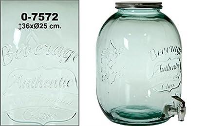 DRW - Dispensador Bebida Bote Cristal 12,5 Lit. Vidrio Reciclado ø25x36cm