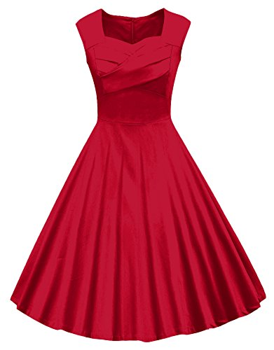 VOGVOG Women's 1950s Retro Vintage Cap Sleeve Party Swing Dress, Red, - Vintage Retro