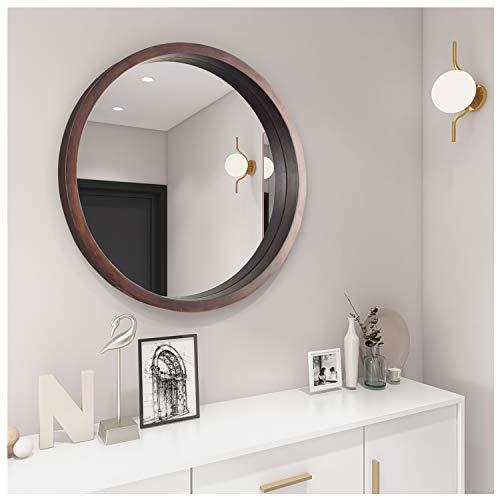 Espejo redondo con marco de madera grande, espejo de pared de cristal en color marron, 61 cm, para bano, dormitorio, vestidor o salon