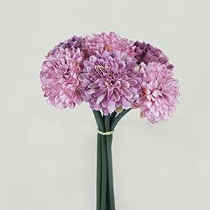Marlles 1Bouquet 6Heads Real Touch Silk Artificial Chrysanthemum Flowers Bridal Wedding Bouquet Flower Arrangement - Home Wedding Decoration, Flowers Bunch Hotel Party Garden Floral Décor 9