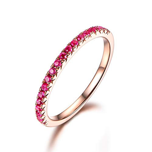 Carleen 14k Solid Gold Sapphire/Ruby/Tsaverite Eternity Band Ring for Women Girls (ruby, 5)
