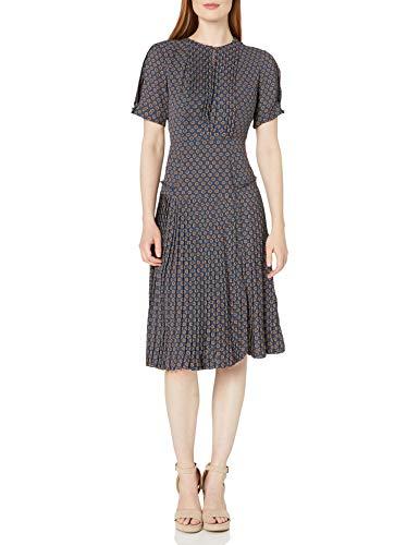 Dear Drew by Drew Barrymore Women's Elizabeth St Short Sleeve Pleated Dress, Medallion Insignia, 10
