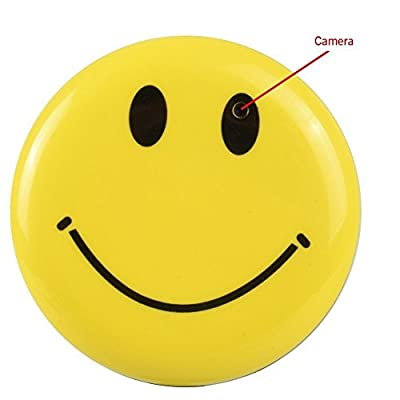 SpyGear-Bybest Hidden Camera Smiley Face Badge Video Recorder Wearable Mini DV Spy Camcorder with Audio Recording and Photo Taking Function - Bybest