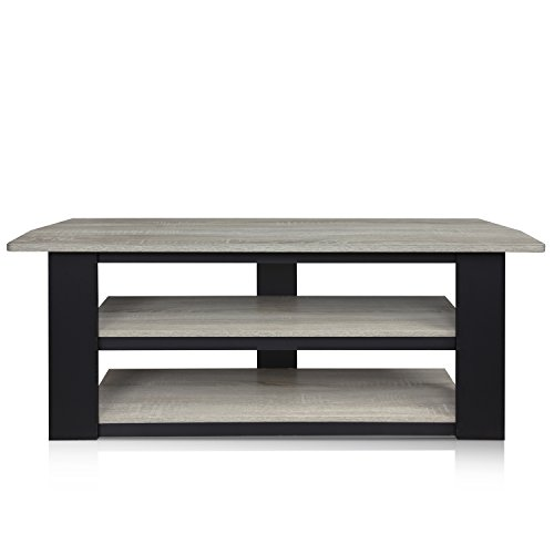 FURINNO 12186GYW/BK French Oak Parsons TV Entertainment Center, 42″, Grey