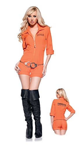 (Women's Sexy Prisoner Costume - Busted, Orange,)
