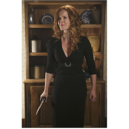 Rebecca Mader Once Upon a Time in black dress in front of hutch crying and holding dagger 8 x 10 Inch Photo