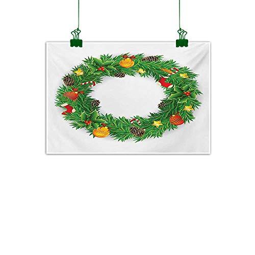 Anzhutwelve Christmas,Canvas Wall Art Festive Wreath Evergreen with Candy Cane Stockings Mistletoe Berries on Door Bathroom Wall Decor Green White W 40