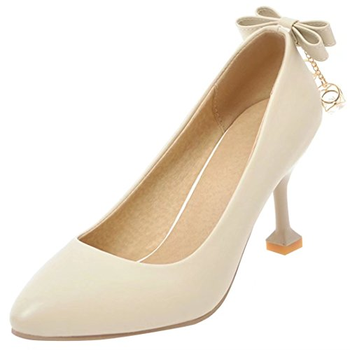 AIYOUMEI Damen Knöchelriemchen Pumps mit Schleife Stiletto High Heels Schuhe mit Schnalle Beige