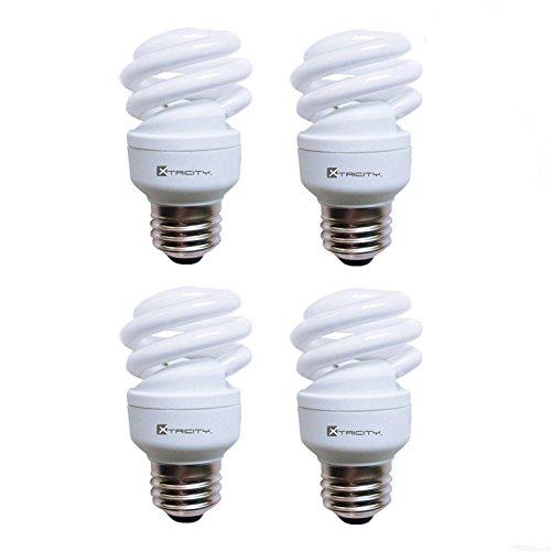 Cfl Compact Flourescent Lamp Bulb - Xtricity Compact Fluorescent Light Bulb T2 Spiral CFL, 5000k Daylight, 9W (40 Watt Equivalent), 540 Lumens, E26 Medium Base, 120V, UL Listed (Pack of 4)
