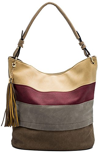 (Handbags for women totes Hobo Shoulder Bags Tassels Stripes Top Handle Bags)