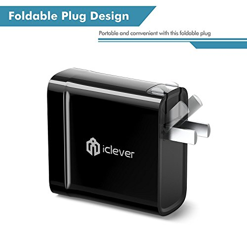 iClever BoostCube 36W Qualcomm QC 3.0 Wall Charger with Dual SmartID USB Port for Samsung Galaxy S7/S6/Edge, Note 5/4, LG G4/G5, HTC One 10 M8/M9/A9, Nexus 6, iPhone, iPad and More, Black