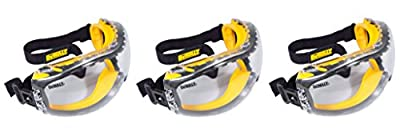 DEWALT DPG82-11 Concealer Clear Anti-Fog Dual Mold Safety Goggle,xveeaq 3 Pack (1 Count Clear Lens)