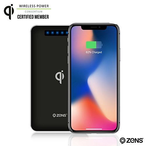 Wireless Phone Charger Power Bank by ZENS | Qi Charging Pad | 4500 mAh Travel Charger | Works with new iPhone 8/8+/X, Samsung Galaxy S7, S8, Android, and all other Qi enabled devices