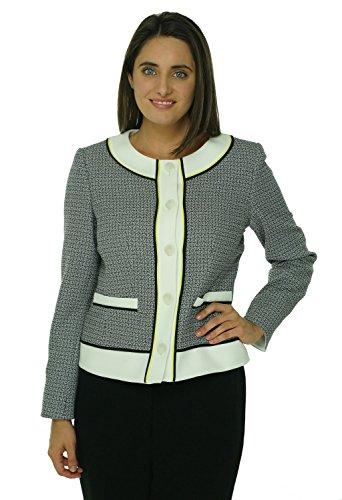 Anne Klein Womens Solar Flair Woven Jacket Onyx/Alabaster