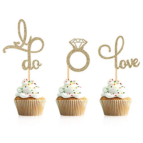 Donoter 48 Pcs Gold Glitter Diamond Ring Love I Do Cupcake Topper Picks for Wedding Engagement Party Cake Decorations ()