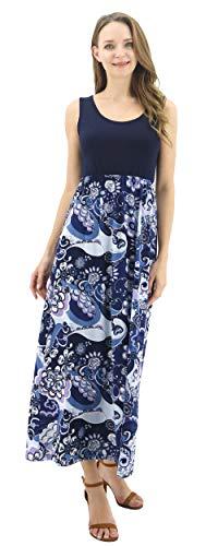 BENANCY Womens Summer Beach Contrast Sleeveless Tank Top Floral Print Maxi Dress