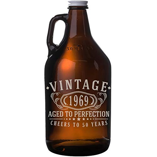 Vintage 1969 Etched 64oz Amber Glass Beer Growler - 50th Birthday Aged to Perfection - 50 years old gifts