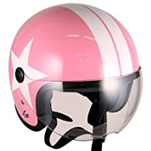 Pilot Style Open Face Motorcycle Helmet (Pink White-star, Large) Model No.jet-bb