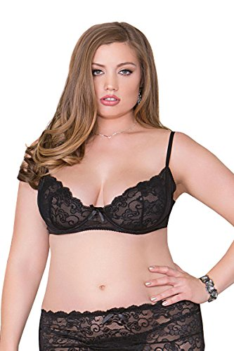 iCollection Lingerie Plus Size Soft Cup Lace Bra, Plus Size Sheer Lace Bra