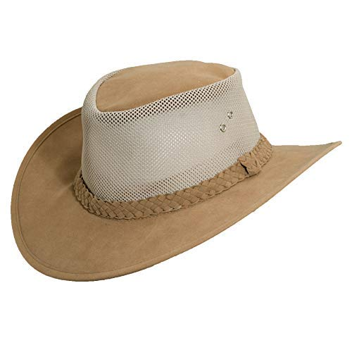 (Dorfman Pacific Co. Men's Co. Soaker Hat with Mesh Sides, Tan, Small/Medium )