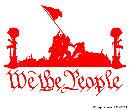 (UR Impressions Red Battlefield of The Brave - We The People Decal Vinyl Sticker Graphics for Cars Trucks SUV Vans Walls Windows Laptop Tablet RED 6.5 X 4.4 inch JJURI061-R)