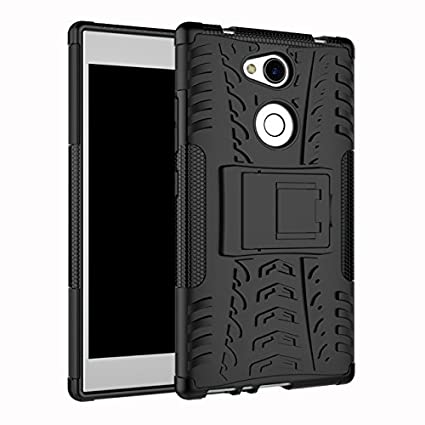 sale retailer 58a37 64292 Newlike Perfect Fit Shockproof Bumper Defender Kick Stand Hybrid Back Case  Cover for Sony Xperia L2 (Black)