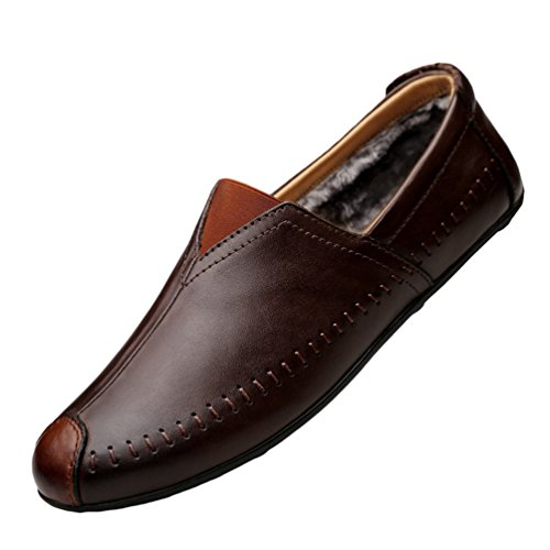 Mocassini da Basse Business Casual Slip Scarpe On Loafers Marrone Uomo 2 PU Guida Anguang Pelle Scarpe vaBq8Rw