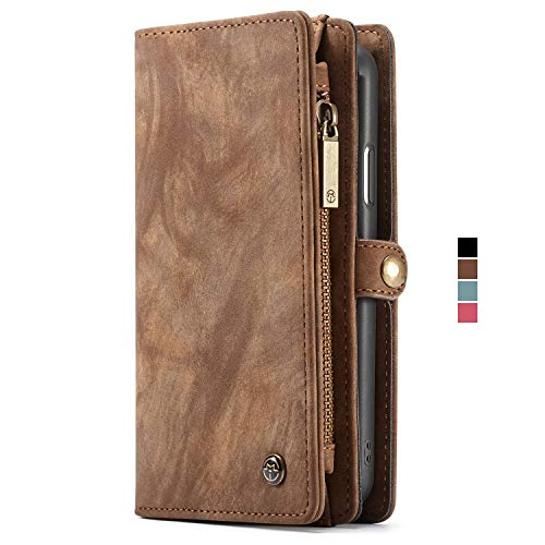 Case Compatible iPhone 10R Leather Wallet Case Flip Cover with Magnetic Removable Slim Back Case Brown
