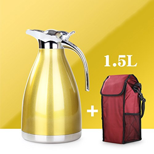 Pottery Juice (1.5L Vacuum Insulated Jug Thermal Carafe Stainless Steel Double Wall Insulation Pot For Coffee Juice Milk Tea Beverages Tote bag(Silver) (Color : Yellow))