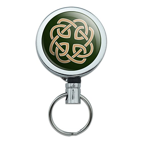 Celtic Knot Love Eternity Heavy Duty Metal Retractable Reel ID Badge Key Card Tag Holder with Belt Clip (Irish Retractable Badge Holder)