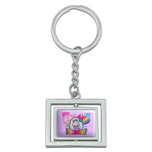 Graphics and More Peace Love Fraggle Power Rock Mokey Spinning Rectangle Chrome Plated Metal Keychain Key Chain Ring
