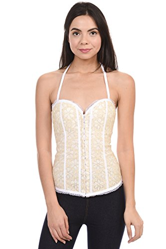 (Sequin Sexy Front Hook Eye Corset Bustier Top with Back of String Cross (White, Large))