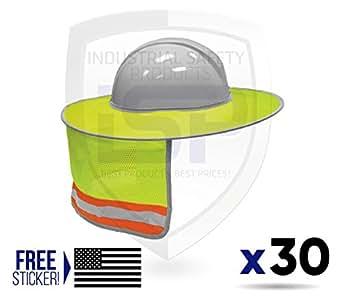 ML Kishigo 2873-6 Full Brim Sun Shield Color Lime (30 Pack) Include Free Sticker (American Flag)