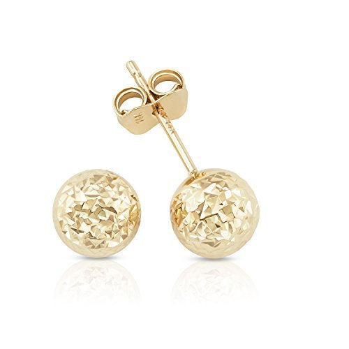 14k Solid Yellow Gold Hammered Finish Ball Stud Earrings For Women, Men and (Yellow Gold Hammered Earrings)
