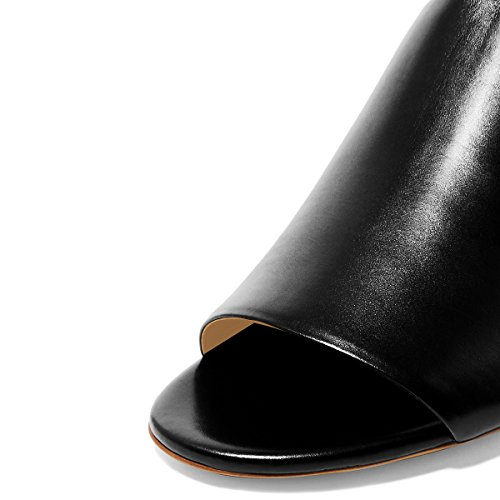 Fsj Kvinners Uformelle Åpen Tå Muldyr Tykk Lave Hæler Sandaler Komfortable Daglige Sko Størrelse 4-15 Oss Svart