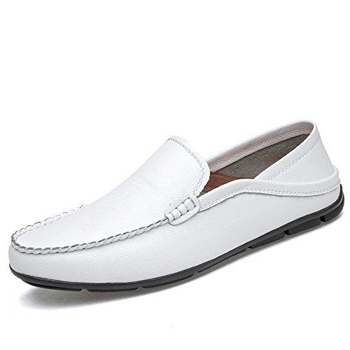 Dimensione Mocassini 44 vera Color Meimei foderati da barca da pelle per leggeri EU e shoes rinfrescanti Bianca casual uomo traspirante in mocassini Aq5RHqw