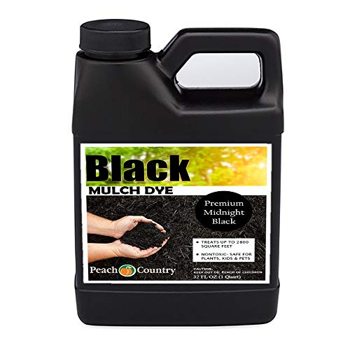 Peach Country Premium Black Mulch Color Concentrate - 2,800 Sq. Ft. - Pure Midnight Black Mulch Dye Spray (1 Quart, Black) (Best Countries For Blacks)