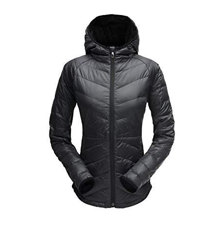 Spyder Women's Solitude Hoody Down Jacket, Black/Black, -