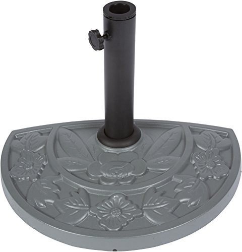Floral Design Half Round Resin Umbrella Base by Trademark Innovations