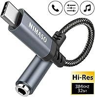 NIMASO USB C zu 3.5mm Klinke,USB C Aux Adapter zu Kopfhörer Jack Audio Adapter,Adapter USB C auf Klinke für Huawei...