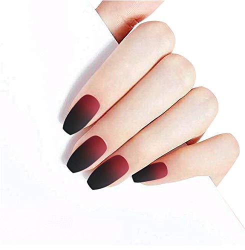 JINDIN 24 Sheet Matte Fake Nails Coffin Shaped False Nails Full Cover Black Red Finger Nails Art Tips for Women Girls by JINDIN